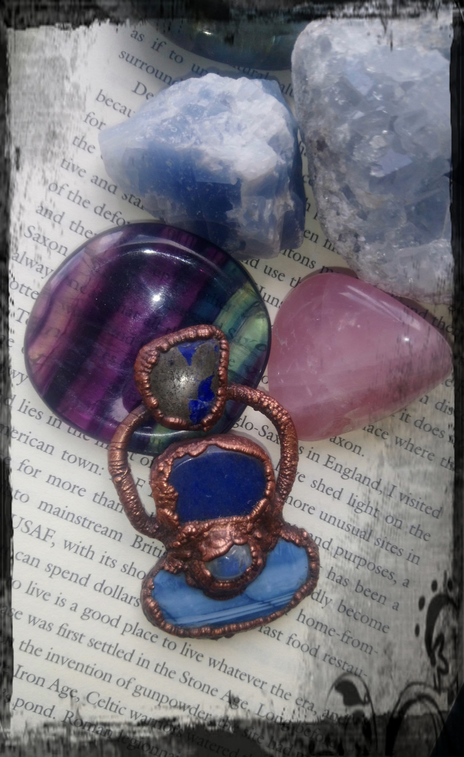 Gorgeous copper electroformed blue opal and blue aventurine pendant with lapis lazuli and moonstone accents