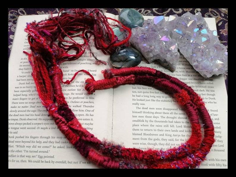 Long red dreadlock hair wrap clip in extension set hippy boho festival wear