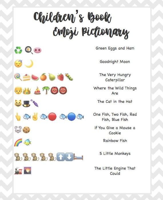 Children S Book Emoji Pictionary Baby Shower Grey Chevron