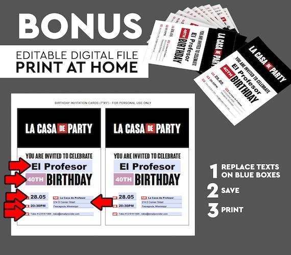 La Casa De Papel Party Invitation Printable La Casa De Party Birthday Party Birthday Invitation Printables Happy Birthday Digital Download