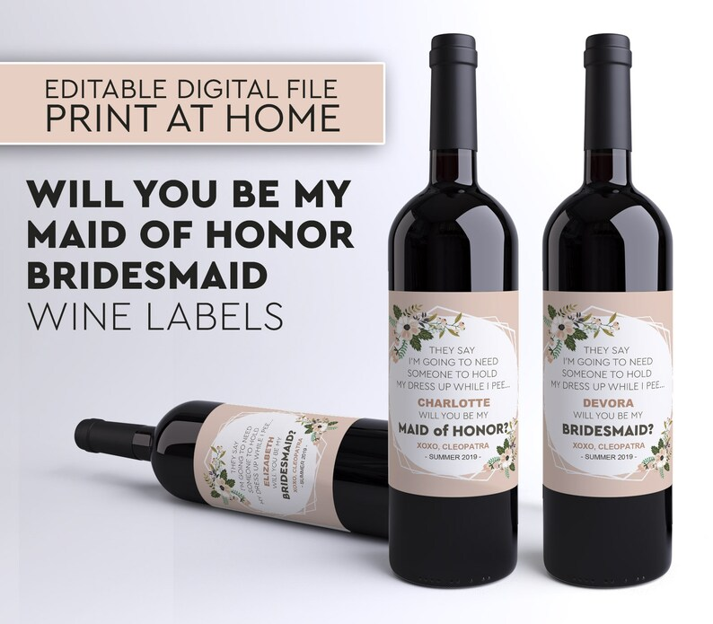Be My Bridesmaid Wine Label My Maid of Honor AnnouncementBe image 0