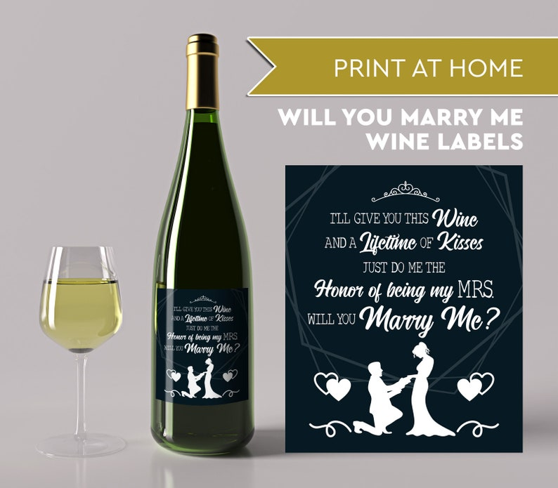 Will You Marry Me Wine Label Printable Marriage Proposal image 0
