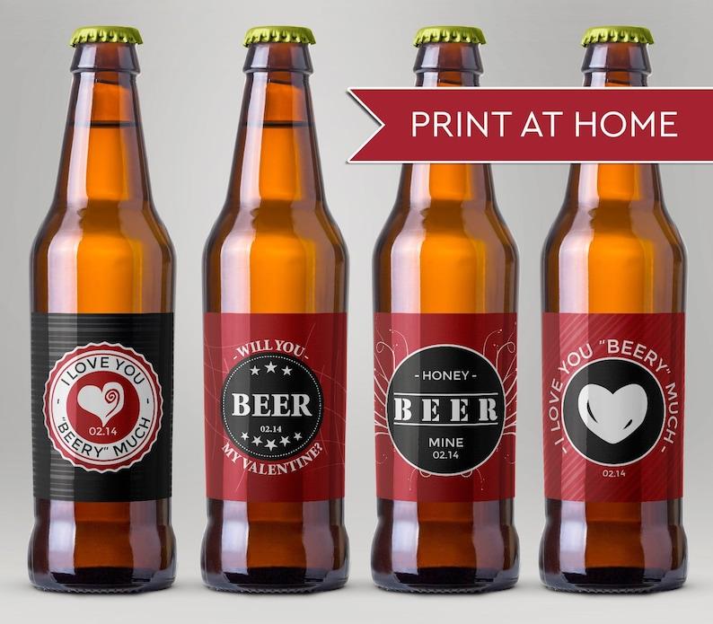 Valentine Beer Printable Labels DIY Beer Labels Beer Mine image 0