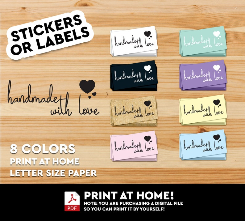 Handmade With Love Label Sticker Handmade Loveliness Inside image 0