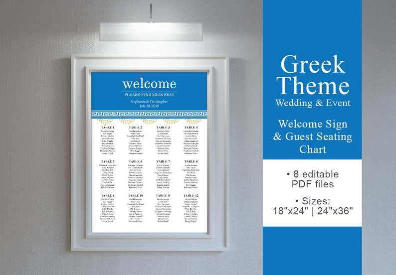 Wedding Welcome Sign Greek Theme Wedding & EventWelcome Sign image 0