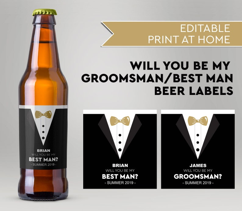 Will You Be My Groomsman Will You Be My Best Man Custom Beer image 0