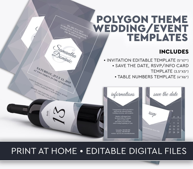 Polygon Wedding Invitation Table Numbers Template image 0