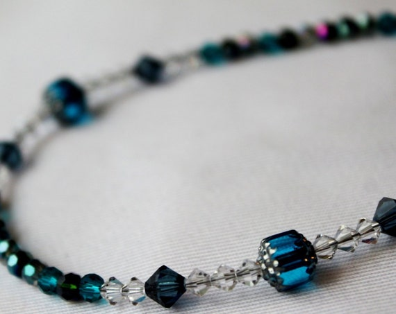 Blue Beaded Crystal Necklace, Crystal Chain
