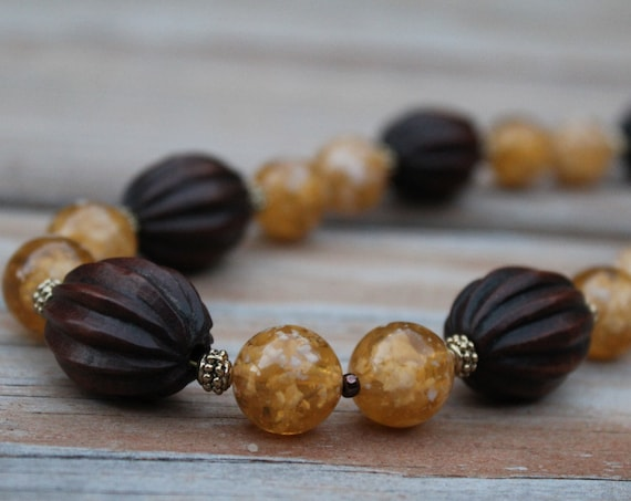 Short Brown & Yellow Boho Bead Necklace, Chunky Earth Tone Necklace