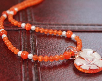 Orange Necklace, Heart Pendant Necklace, Lampwork Bead