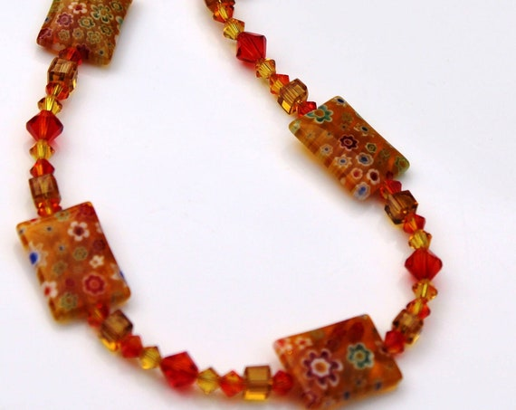 Stunning Crystal Millefiori Necklace in a Starburst of Colors
