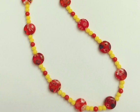 Tiny Bead Necklace, Yellow and Red Choker, Millefiori Minimalist Jewelry