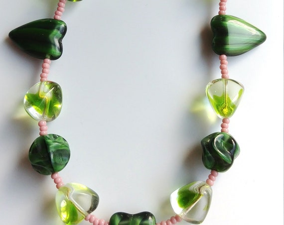 Heart Necklace, Short Chunky Green Bead Necklace
