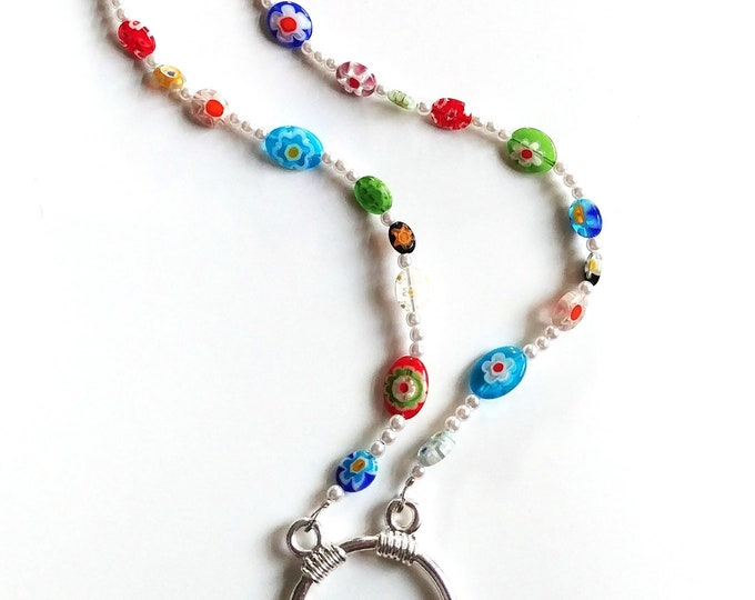 Featured listing image: Millefiori Eyeglass Necklace, Colorful Eyeglass Chain, White Bead Lanyard for Glasses