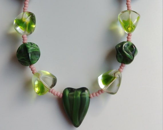 Chunky Green Bead Necklace, Short Green Necklace with Hearts