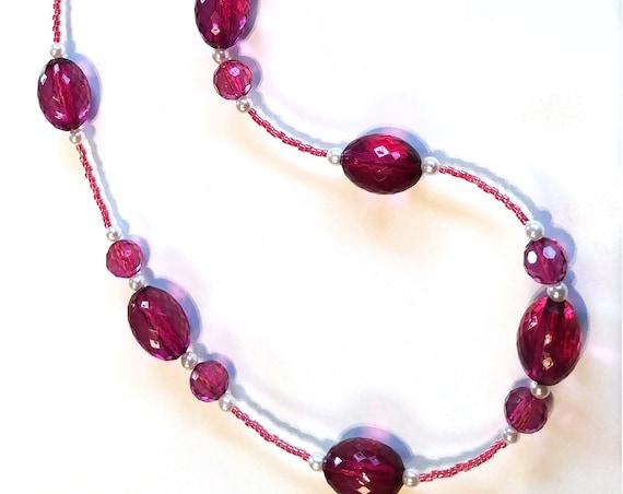Purple Chain for Eyeglasses, Reading Glasses Bead Lanyard Eyeglass Necklace
