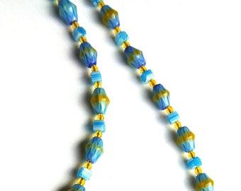 Millefiori Glass Bead Necklace & Bracelet Set, Light Blue and Yellow Bead Jewelry