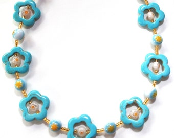 Turquoise Blue Necklace with Baby Blue and White Millefiori Beads, Chunky Jewelry