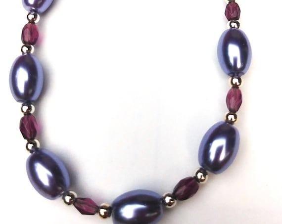 Amethyst and Plum Colored Purple Bead Necklace