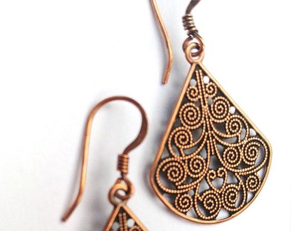 Copper Dangle Earrings, Filigree Teardrop