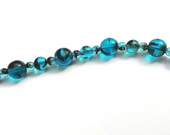 Blue Tiger Eye Beaded Necklace, Ocean Blue Choker Necklace