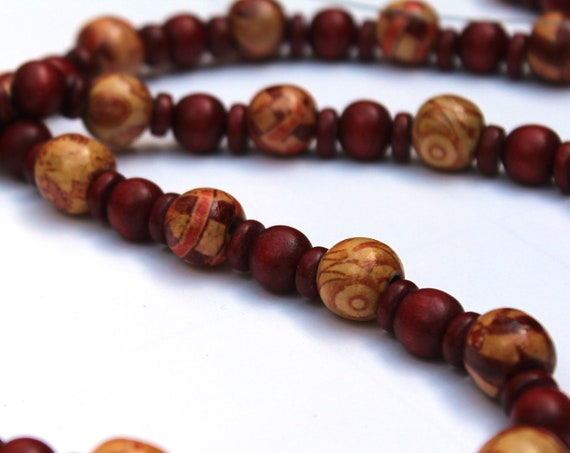 Wood Bead Necklace, Red and Tan