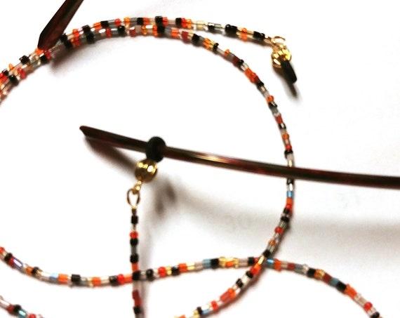 Eyeglass Holder, Bead Chain for Glasses, Harvest Colors Tiny Beads Eyeglass Chain