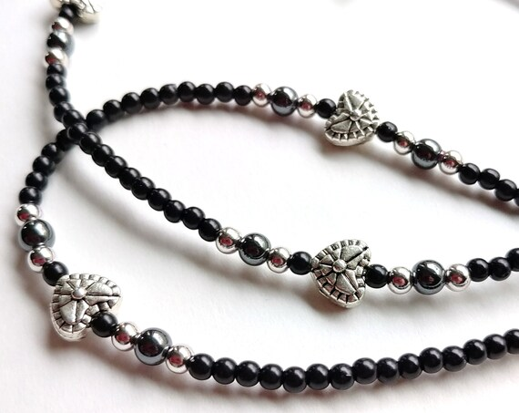 Eyeglass Chain, Black and Silver Minimalist Accessory with Small Hearts, Bead Glasses Chain