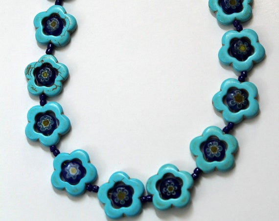 Chunky Turquoise Necklace with Millefiori Beads, Floral Design Bead Jewelry