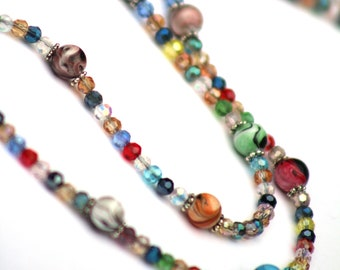 Eyeglass Necklace, Colorful Bead Crystal Eyeglasses Chain