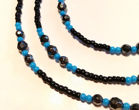 Black and Blue Small Bead Chain for Glasses, Black Eyeglass Chain Glasses Holder