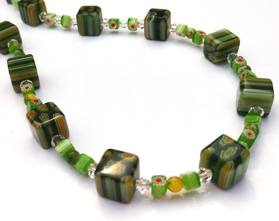 Green Millefiori Bead Necklace with Crystals, 18 inches