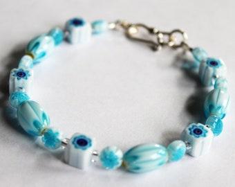 Millefiori Bead Bracelet, Light Blue and White