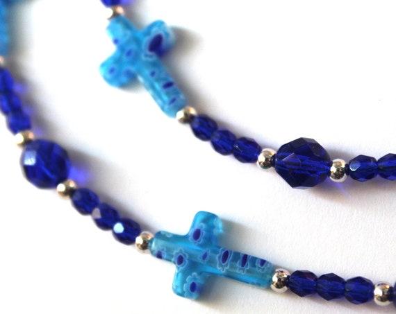 Cross Lanyard Religious Gift, Blue Glasses Chain, Beaded Chain for Glasses, Eyeglass Holder