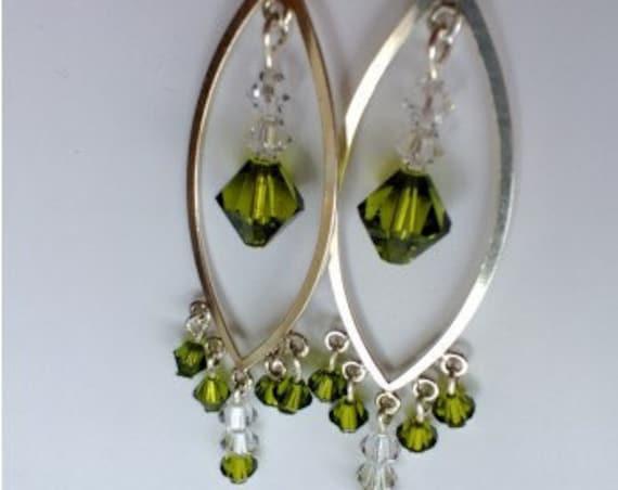 Green Chandelier Earrings, Austrian Crystal Jewelry, Olive Green Long Silver Earrings, Geometric Earrings