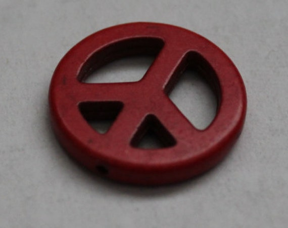 Peace Bead, Red Peace Sign, Peace Craft Supply, Jewelry Making Supplies