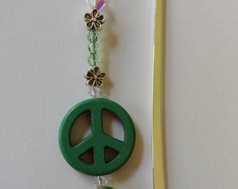 Peace Sign Bookmark, Books and Zines, Green Peace Beaded Bookmark