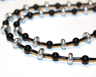 Black and Silver Bead Eyeglass Necklace, Elegant
