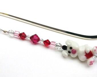 Bead Bookmark, Heart Bunny Rabbit, Bookworm Gift Idea