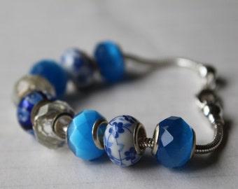Big Bead Bracelet, Chunky Blue Bracelet, Large Hole Beads, Add a Bead Snake Chain Bracelet, Ocean Blue