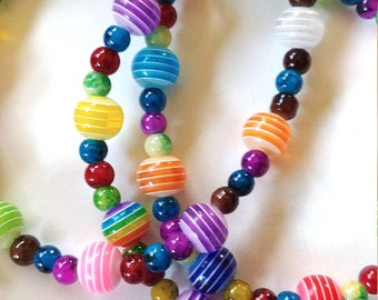 Colorful Rainbow Eyeglass Chain, Bead Cord Holder for Glasses