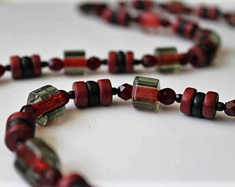 Chunky Red Necklace, Long Red and Black Over the Head No Clasp Necklace