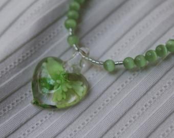 Heart Necklace, Green Necklace, Heart Pendant, Lampwork Green Glass Heart, Light Green Beaded Necklace