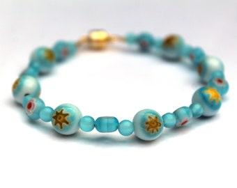 Light Blue Bead Bracelet, Magnetic Clasp