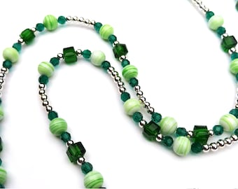 Green and Silver Bead Necklace