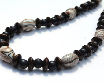 Wood Bead Necklace for Women, Dark Brown, Black Chunky Bead Necklace