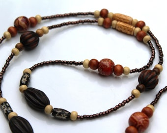 Brown Beaded Necklace, Long Wood Boho Necklace For Women, Earth Tones