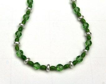 Women's Light Green Glass Bead Necklace