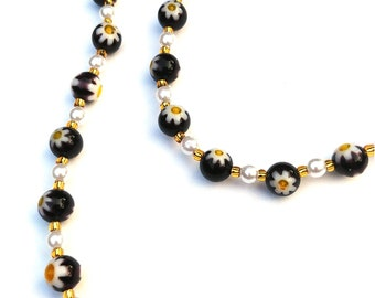 Black Bead Flower Necklace, White and Yellow Daisy Necklace