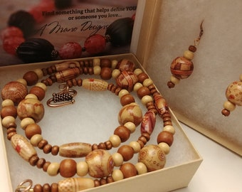 Wood Bead Necklace and Earrings Set, Brown and Tan Handpainted